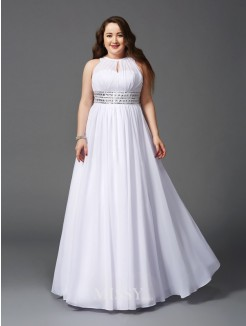 A-Line/Princess Jewel Beading Sleeveless Floor-Length Chiffon Plus Size Dresses