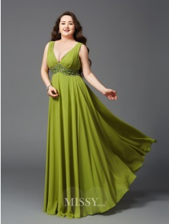 A-Line/Princess Straps Rhinestone Sleeveless Floor-Length Chiffon Plus Size Dresses