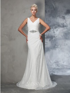 Trumpet/Mermaid Sleeveless V-neck Lace Court Train Wedding Gown