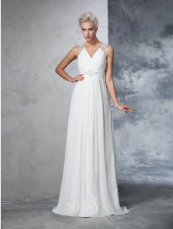 A-Line/Princess Sleeveless V-neck Chiffon Ruched Sweep/Brush Train Wedding Gown