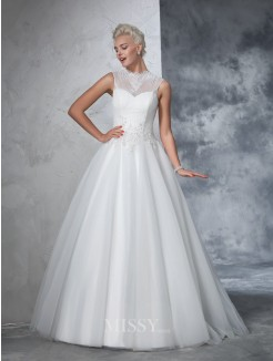 Ball Gown Sleeveless High Neck Net Applique Floor-Length Gown