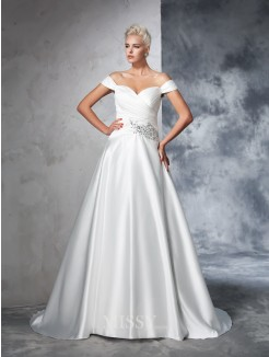 Ball Gown Sleeveless Taffeta Off-the-Shoulder Ruched Chapel Train Wedding Gown