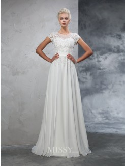 A-Line/Princess Short Sleeves Sheer Neck Chiffon Applique Sweep/Brush Train Wedding Gown
