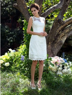 A-Line/Princess Sleeveless Sheer Neck Satin Knee-Length Applique Wedding Dresses