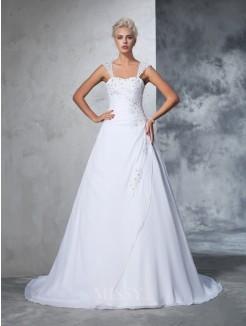 Ball Gown Sleeveless Straps Chiffon Applique Court Train Wedding Gown