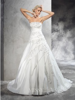 Ball Gown Strapless Sleeveless Beading Court Train Satin Wedding Dresses