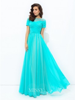 A-Line/Princess Bateau Short Sleeves Lace Floor-Length Chiffon Dresses