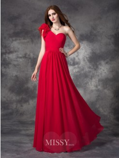 A-line/Princess Sleeveless One-Shoulder Hand-Made Flower Floor-Length Chiffon Dress