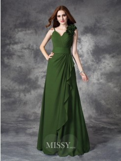 A-line/Princess Sleeveless V-neck Hand-Made Flower Floor-Length Chiffon Dress