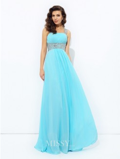 A-Line/Princess Sleeveless Straps Sequin Floor-Length Chiffon Dresses