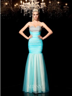 Sheath/Column Sleeveless Sweetheart Sequin Floor-Length Net Dresses