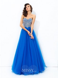 A-Line/Princess Sleeveless Sweetheart Sequin Floor-Length Net Dresses