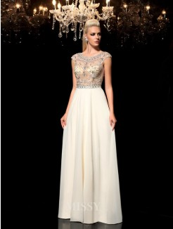 A-Line/Princess Sleeveless Sheer Neck Rhinestone Floor-Length Chiffon Dresses