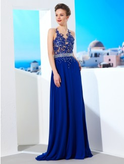 A-Line/Princess Sleeveless Sheer Neck Chiffon Applique Sweep/Brush Train Prom Gown