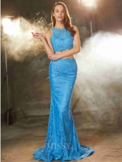 Sheath Scoop Sleeveless Sweep/Brush Train Lace Two Piece Prom Gown