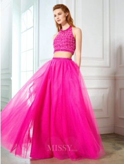 A-Line Halter Beading Sleeveless Net Floor-Length Two Piece Dresses