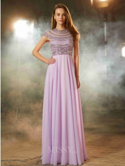 A-Line/Princess Scoop Short Sleeves Floor-Length Beading Chiffon Prom Gown
