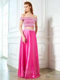 A-Line Off-the-Shoulder Beading Sleeveless Satin Floor-Length Two Piece Dresses