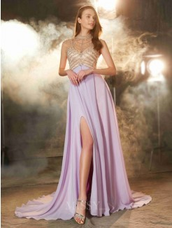 A-Line High Neck Sleeveless Sweep/Brush Train Chiffon Prom Gown