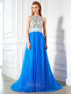 A-Line Jewel Beading Sleeveless Floor-Length Net Dresses
