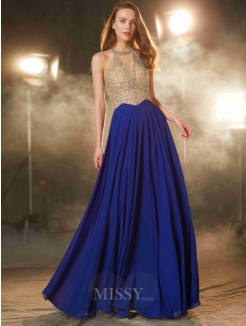A-Line Scoop Sleeveless Floor-Length Chiffon Prom Gown