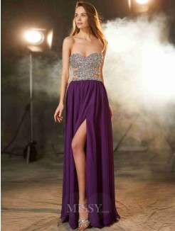 A-Line Sweetheart Sleeveless Floor-Length Chiffon Prom Gown