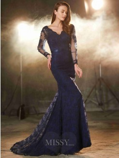Trumpet/Mermaid V-neck Long Sleeves Applique Sweep/Brush Train Lace Evening Wear