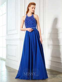 A-Line Jewel Sleeveless Beading Chiffon Sweep/Brush Train Dresses