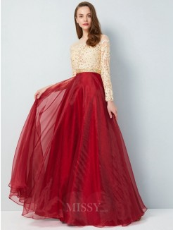A-Line Sheer Neck Floor-Length Long Sleeves Applique Organza Evening Wear