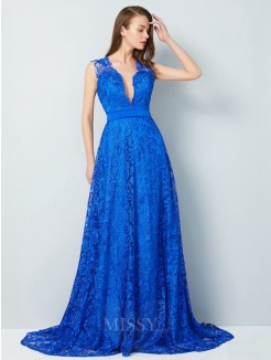 A-Line V-neck Sleeveless Sweep/Brush Train Bowknot Lace Evening Wear