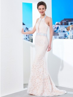Sheath Halter Sleeveless Floor-Length Lace Satin Evening Wear