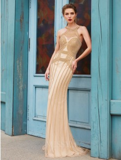 Sheath High Neck Sleeveless Sweep/Brush Train Beading Net Evening Wear