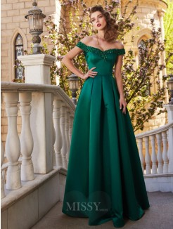 A-Line Off-the-Shoulder Sequin Sleeveless Satin Floor-Length Evening Wear
