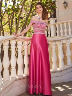 A-Line Off-the-Shoulder Beading Sleeveless Satin Floor-Length Two Piece Grad Dress