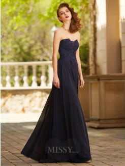 A-Line Sweetheart Sleeveless Floor-Length Applique Chiffon Grad Dress