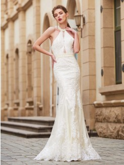 Column Jewel Sleeveless Floor-Length Applique Lace Grad Dress