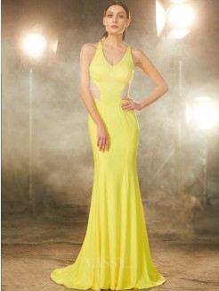 Trumpet/Mermaid V-neck Sleeveless Sweep/Brush Train Beading Spandex Grad Dress