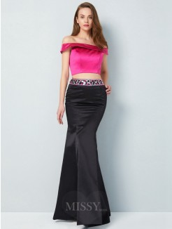 Trumpet/Mermaid Off-the-Shoulder Sleeveless Floor-Length Beading Satin Two Piece Grad Dress
