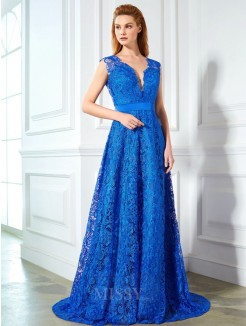 A-Line/Princess V-neck Sleeveless Sweep/Brush Train Bowknot Lace Grad Dress