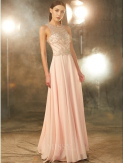 A-Line/Princess Scoop Sleeveless Chiffon Floor-length Party Dress