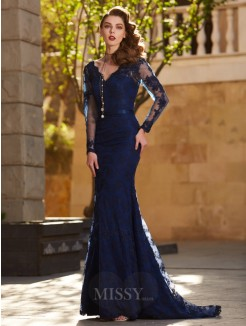Trumpet/Mermaid V-neck Long Sleeves Applique Sweep/Brush Train Lace Party Dress