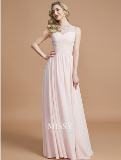 A-Line/Princess Bateau Sleeveless Ruched Floor-Length Chiffon Bridesmaid Dresses