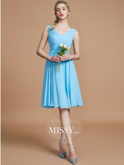 A-Line/Princess V-neck Sleeveless Ruched Short/Mini Chiffon Bridesmaid Dresses
