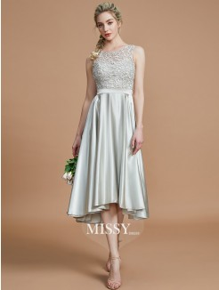 A-Line/Princess Bateau Sleeveless Ruffles Asymmetrical Silk like Satin Bridesmaid Dresses