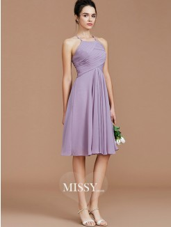 A-Line/Princess Halter Sleeveless Ruched Short/Mini Chiffon Bridesmaid Dresses