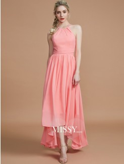 A-Line/Princess Halter Asymmetrical Sleeveless Chiffon Bridesmaid Dresses