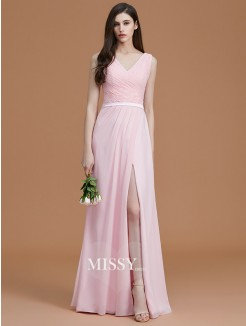 A-Line/Princess V-neck Sleeveless Floor-Length Ruched Chiffon Bridesmaid Dresses