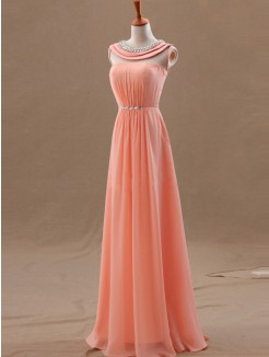 2015 Floor-length A-line/Princess Scoop Sleeveless Chiffon Beading Prom Dress