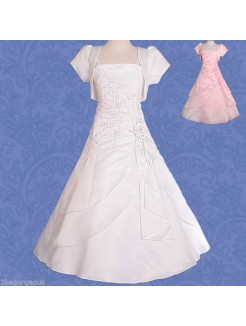 2015 A-Line/Princess Sleeveless Satin Floor-Length Flower Girl Dresses