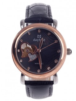 Daybird Vogue Heart Shape Hollow Out Style Automatic Mechanical Women's Wristwatch - Black+Rose Gold